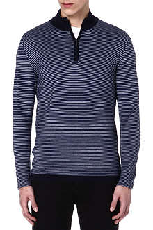 CANALI Half-zip striped jumper