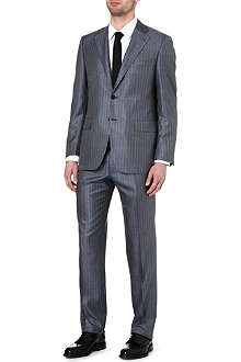 CANALI Striped wool and silk-blend suit