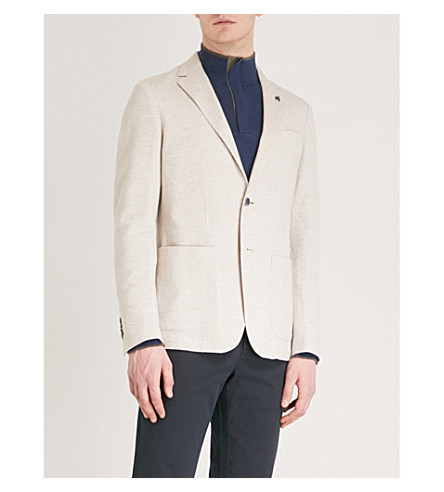 CANALI Tailored-fit linen and cotton-blend jacket (Cream