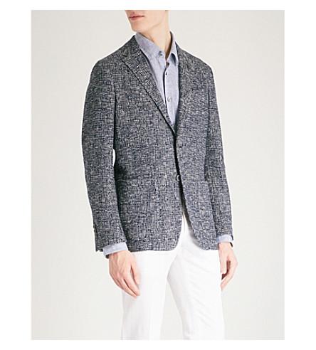 CANALI Basketweave slim-fit cotton jacket (Navy