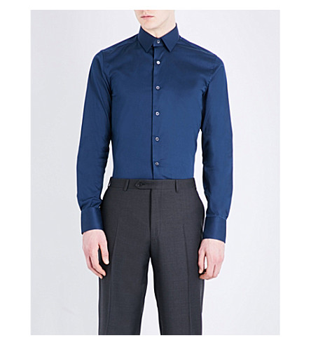 CANALI Slim-fit stretch-cotton shirt (Navy