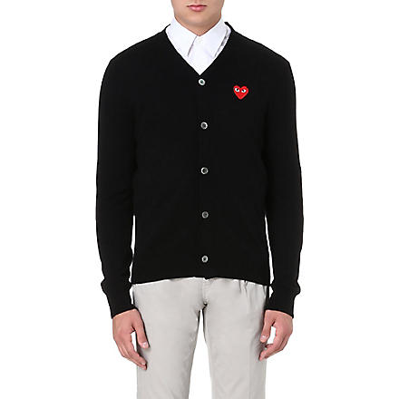COMME DES GARCONS PLAY Fitted wool cardigan (Black