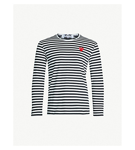 COMME DES GARCONS PLAY Striped cotton jumper (Black
