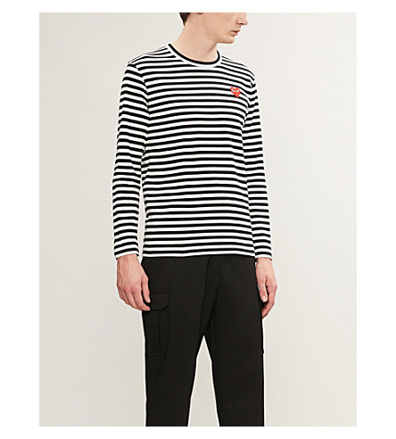 COMME DES GARCONS PLAY Striped cotton jumper (Black