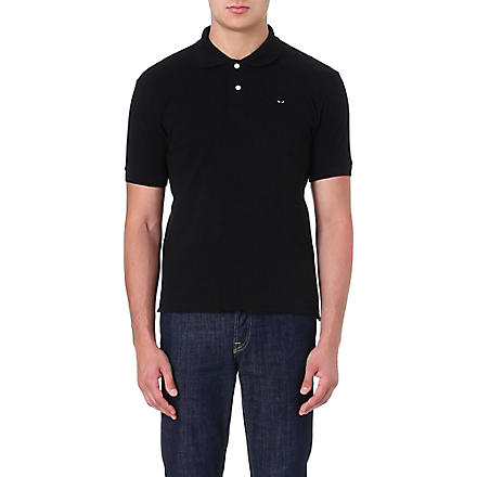 COMME DES GARCONS PLAY Fitted cotton Polo shirt (Black