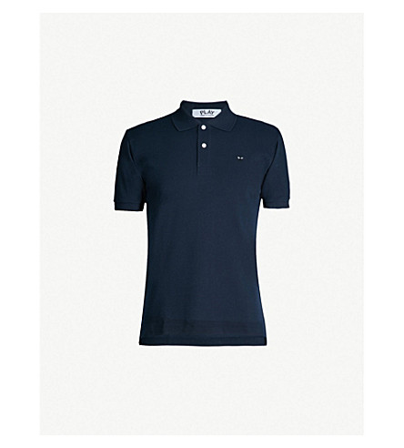 COMME DES GARCONS PLAY Fitted cotton polo shirt (Navy