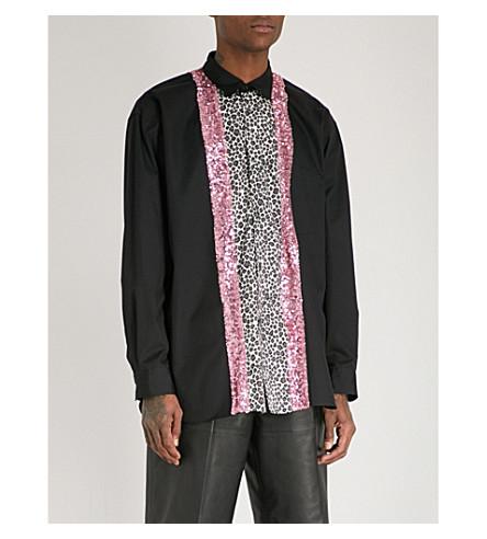 COMME DES GARCONS HOMME PLUS Sequinned leopard-print cotton shirt (Black