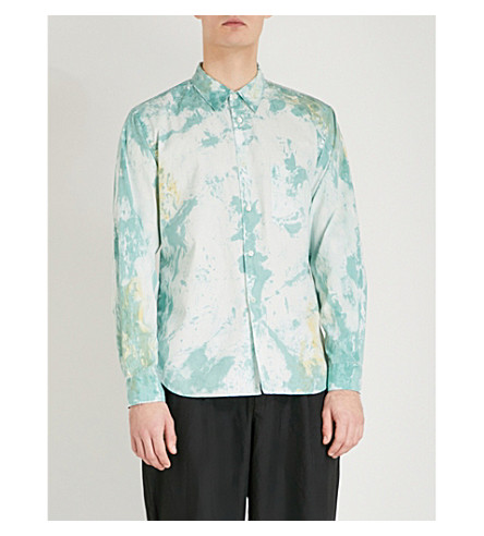 COMME DES GARCONS HOMME PLUS Hand-painted regular-fit cotton shirt (Mint