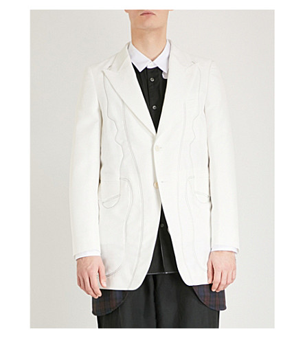 COMME DES GARCONS HOMME PLUS Multi fabric single-breasted woven jacket (White
