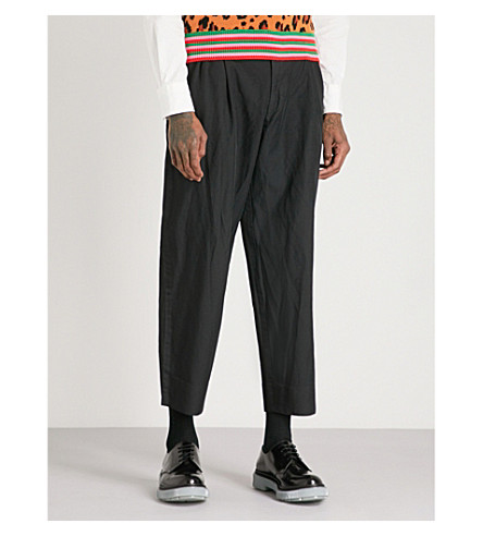 COMME DES GARCONS HOMME PLUS Regular-fit straight woven cropped trousers (Black