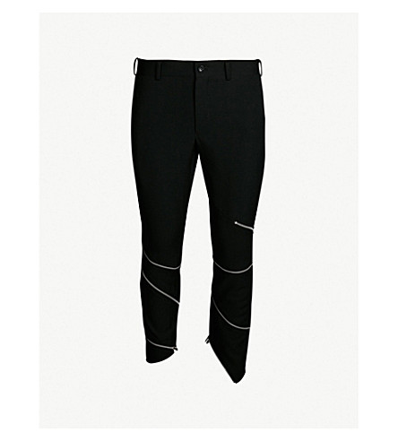 COMME DES GARCONS HOMME PLUS Zip-embellished slim-fit straight wool trousers (Black