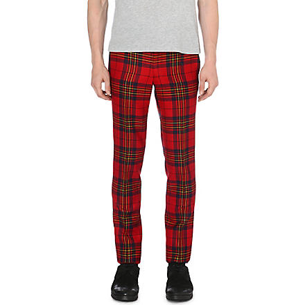 COMME DES GARCONS Checked slim-fit trousers (Red