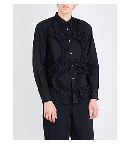 COMME DES GARCONS HOMME PLUS Frilled regular-fit cotton shirt (Black