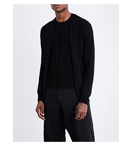 COMME DES GARCONS HOMME PLUS Distressed-underlay wool cardigan (Black