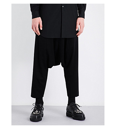 COMME DES GARCONS HOMME PLUS Dropped-crotch wool trousers (Black