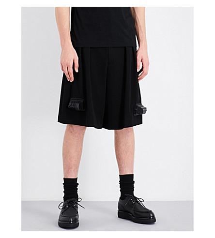 COMME DES GARCONS HOMME PLUS Train-detailed wool shorts (Black