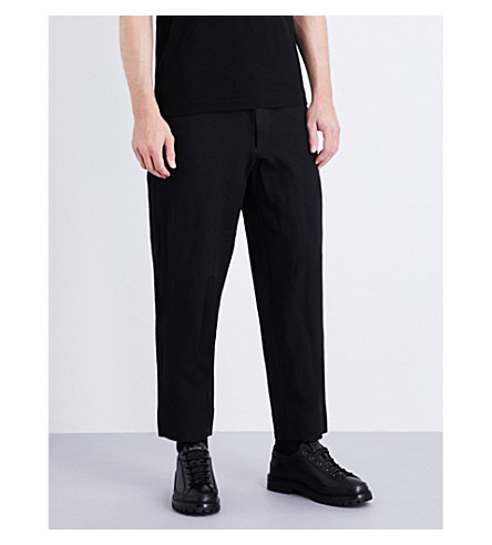 COMME DES GARCONS HOMME PLUS Straight regular-fit cropped gabardine trousers (Black