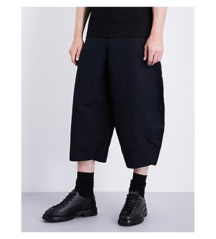 COMME DES GARCONS HOMME PLUS Wide cropped regular-fit gabardine trousers (Navy