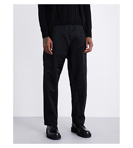 COMME DES GARCONS HOMME PLUS Regular-fit wide shell-twill trousers (Black