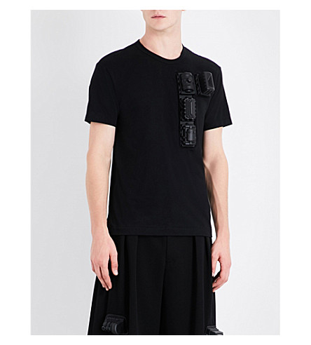 COMME DES GARCONS Train-detailed cotton-jersey T-shirt (Black
