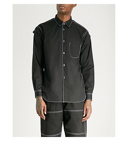 COMME DES GARCONS SHIRT Contrast-stitching regular-fit cotton-poplin shirt (Black