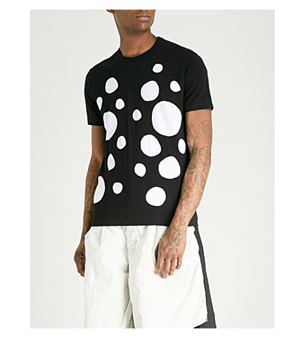 COMME DES GARCONS SHIRT Two-tone spotted cotton-jersey T-shirt (Black