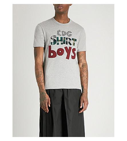 COMME DES GARCONS BOY Logo-appliquéd cotton-jersey T-shirt (Grey