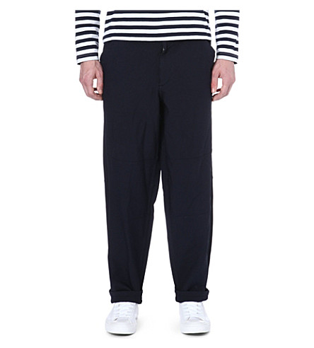 COMME DES GARCONS SHIRT Dropped crotch twill trousers (Navy