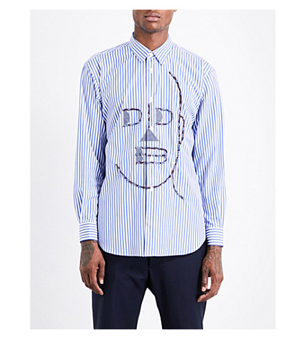 COMME DES GARCONS SHIRT Face-print striped regular-fit cotton shirt (A+stripe