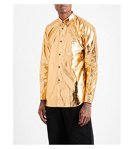 COMME DES GARCONS SHIRT Regular-fit cotton-blend metallic shirt (Gold
