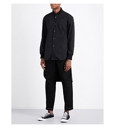 COMME DES GARCONS SHIRT Stepped-hem cotton bomber shirt (Black