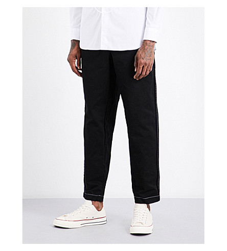 COMME DES GARCONS SHIRT Relaxed-fit tapered cotton trousers (Black