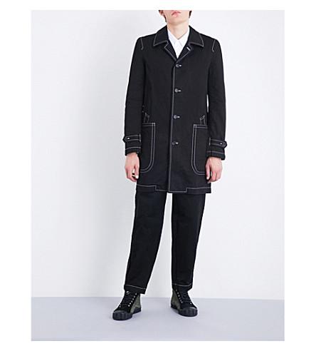 COMME DES GARCONS SHIRT Contrast-stitching cotton-drill coat (Black