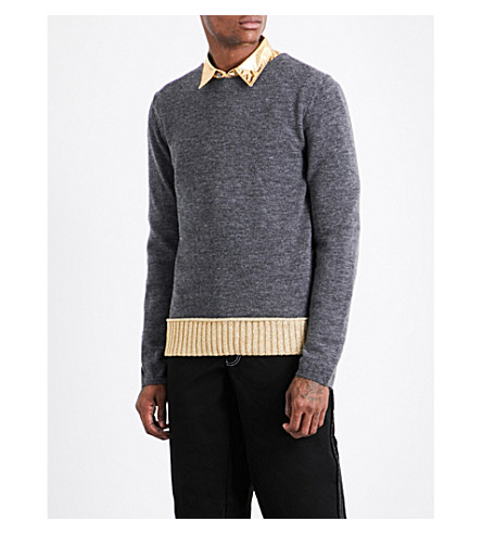 COMME DES GARCONS SHIRT Contrast-hem wool-blend jumper (Grey+gold