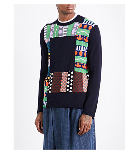 COMME DES GARCONS SHIRT Patchwork wool-blend jumper (Navy