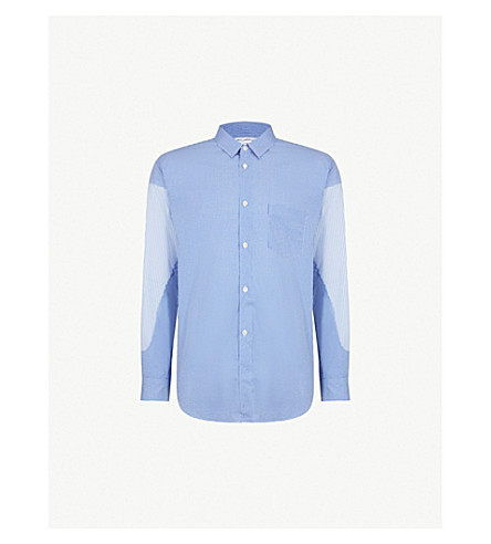 COMME DES GARCONS SHIRT Patchwork regular-fit cotton shirt (Check+stripe