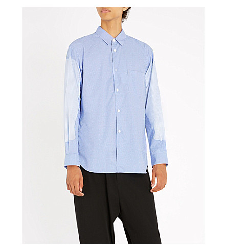 COMME DES GARCONS SHIRT Patchwork regular-fit cotton shirt (Check+stripe