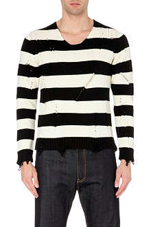 JUNYA WATANABE Ripped striped wool jumper