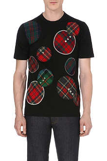 JUNYA WATANABE Tartan-appliqué cotton t-shirt