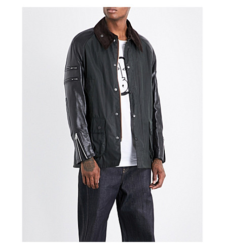 JUNYA WATANABE Junya Watanabe x Barbour Patch-detailed cotton and leather jacket (Seige+green