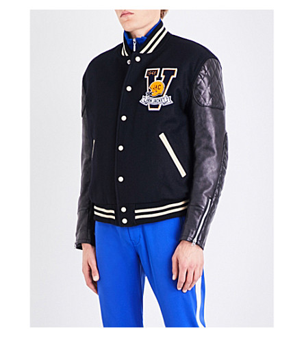 JUNYA WATANABE Junya Watanabe x VAN Jacket wool-blend and faux-leather bomber jacket (Navy+black