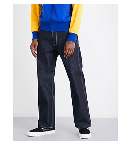JUNYA WATANABE Plaid pocket-detail regular-fit straight high-rise jeans (Indigo