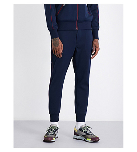 JUNYA WATANABE Contrast-trim skinny mid-rise jersey jogging bottoms (Navy+burgundy