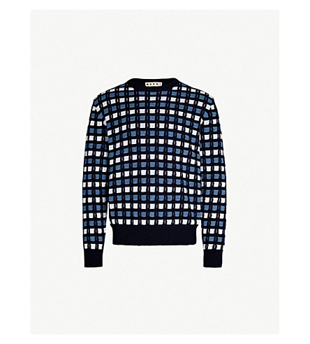 MARNI Geometric cotton jumper (White