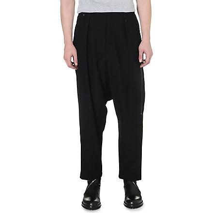YOHJI YAMAMOTO Dropped-crotch pleated trousers (Black