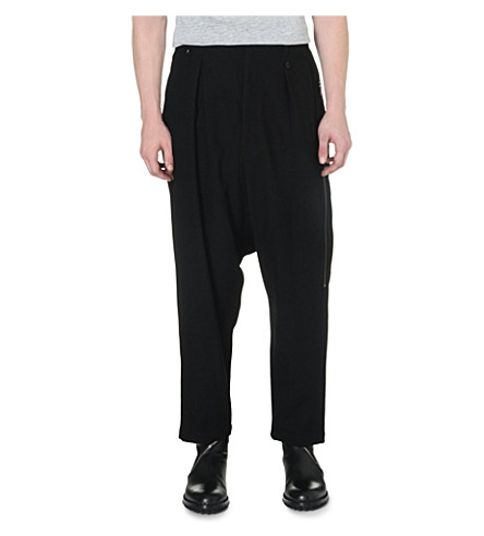 YOHJI YAMAMOTO Dropped-crotch pleated trousers (Black