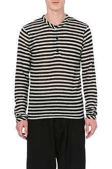 YOHJI YAMAMOTO Striped grandad-collar jumper