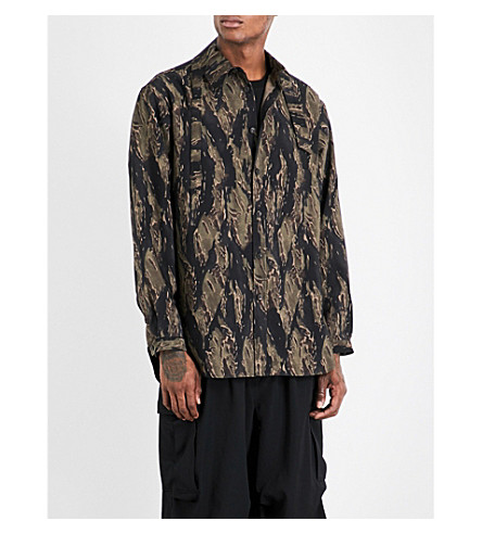 YOHJI YAMAMOTO Camouflage-pattern oversized wool shirt (Brown