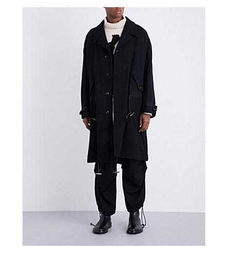 YOHJI YAMAMOTO Drawstring-detail textured wool coat (Black