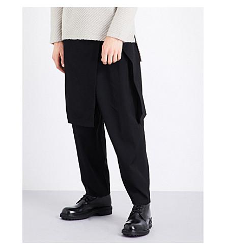YOHJI YAMAMOTO Skirt-overlay wool trousers (Black